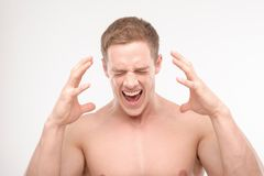 Screaming athlete Royalty Free Stock Photography