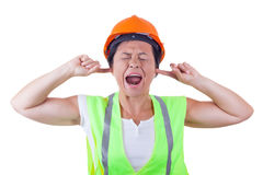 Free Screaming Attractive Woman Worker In Safety Jacket And Yellow He Royalty Free Stock Photography - 98858777