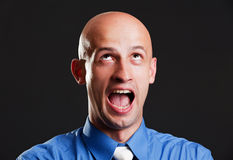 Screaming bald man Royalty Free Stock Photo