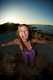 Screaming on the beach Royalty Free Stock Photography