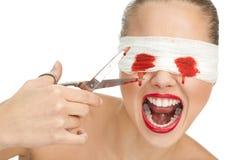 Screaming blind terrified woman Royalty Free Stock Image
