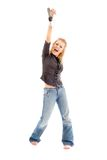 Screaming blond with white shoe Stock Images