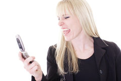 Screaming blonde Stock Photo