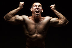 Screaming bodybuilder. Royalty Free Stock Photos