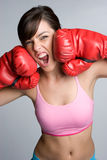 Screaming Boxer. Aggressive young fitness boxer screaming Royalty Free Stock Photos