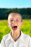 Screaming boy. Portrait of screaming boy outdoor royalty free stock photography