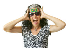 Screaming Brazilian Supporter with Flag Painted Royalty Free Stock Images