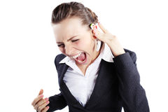 Screaming business lady Stock Photo