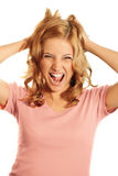 Screaming business woman Stock Images