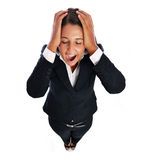 Screaming business woman. Business woman is screaming has headache.    Isolated on a white background Royalty Free Stock Image