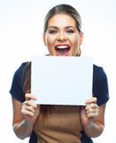 Screaming business woman hold blank board. Royalty Free Stock Image