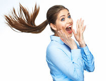 Screaming business woman. Positive model emotion. Isolated. Stock Photo