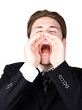Screaming businessman stock images