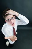 Screaming businessman asking for money Stock Images