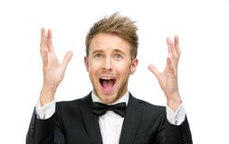 Screaming businessman with hands up Royalty Free Stock Photos