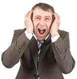 Screaming businessman looking at camera Royalty Free Stock Images