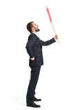 Screaming businessman with placard Stock Images