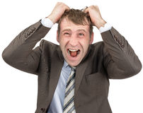 Screaming businessman tearing his hair Stock Image