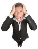 Screaming businesswoman. In suit isolated on white background Royalty Free Stock Images