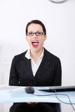 Screaming businesswoman. Royalty Free Stock Image