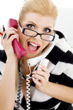 Screaming businesswoman Stock Images