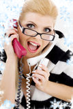 Screaming businesswoman. Closeup picture of screaming businesswoman with snowflakes stock photos