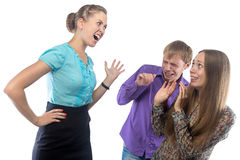 Screaming businesswoman and employees Stock Photo