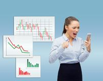 Screaming businesswoman with smartphone Royalty Free Stock Images