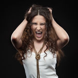 Screaming casual girl Royalty Free Stock Images