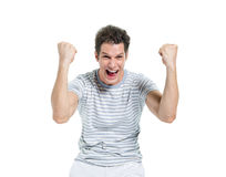 Screaming Casual Man Celebrating Victory Stock Photo