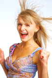 Screaming Cheerleader Stock Photo