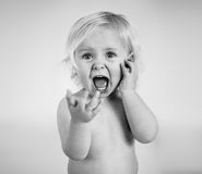 Screaming child in black and white Stock Photos