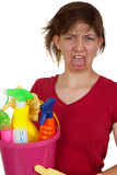 Screaming cleaning woman Stock Image