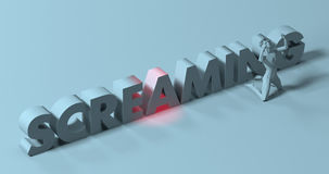 Screaming - 3d render lettering sign, near frustrated yelling ma Royalty Free Stock Images