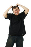 Screaming from despair a man Stock Photos