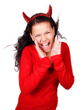 Screaming devil. Screaming female devil isolated on white background Stock Photography