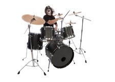 Screaming drummer. With scenic makeup Stock Photography
