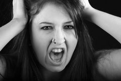 Screaming emo girl Stock Photography