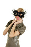 Screaming face. Young attractive female blonde screaming with mask over her face Royalty Free Stock Photos