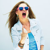Screaming fashion model studio portrait. Stock Image
