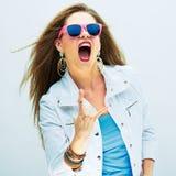 Screaming fashion model studio portrait. Stock Image