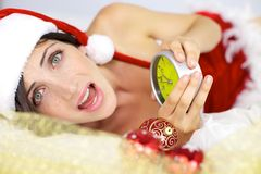 Screaming female santa claus Royalty Free Stock Photo