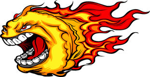 Screaming Fire Ball or Comet Cartoon. Cartoon Image of a Screaming Burning Fire Ball with Flames Royalty Free Stock Images