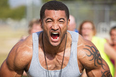 Screaming Fitness Instructor Stock Photography