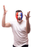 Screaming France football fan of disturbance game  of France national  team. Royalty Free Stock Images