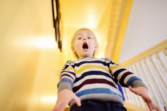 Screaming in fright the little boy. Child& x27;s fears. Horror royalty free stock image