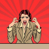 Screaming Frustrated Business Woman with Help Sticker on her Head. Pop Art Royalty Free Stock Images