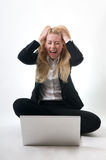 Screaming Frustration. Computer frustration with angry girl Stock Images
