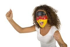 Screaming German fan Stock Images