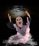 Screaming ghost and full moon. Screaming ghost looking to full moon in halloween night Royalty Free Stock Photo